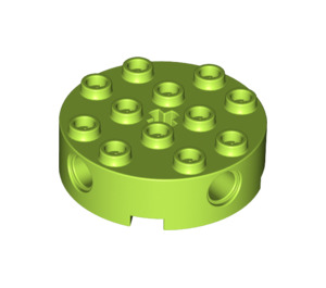 LEGO Lime Brick 4 x 4 Round with Holes (6222)