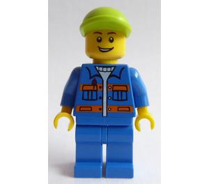 LEGO Lime Cap, Blue Jacket, Orange Stripes, Lopsided Open Grin Minifigure