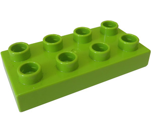 LEGO Lime Duplo Plate 2 x 4 (40666)