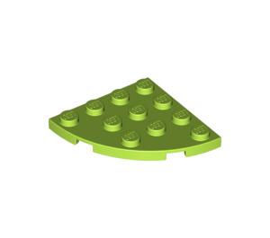 LEGO Lime Plate 4 x 4 Corner Round (30565)