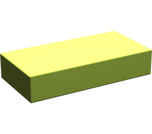 LEGO Lime Tile 1 x 2 without Groove (3069)
