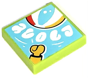 LEGO Lime Tile 2 x 2 with Bouncy Ball with Groove (77314)