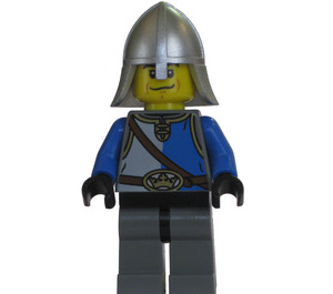 LEGO Lion Knight with Blue and Gray Tunic and Neck Protector Helmet, Worried Expression Minifigure