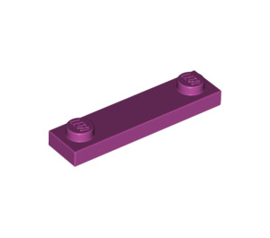 LEGO Magenta Plate 1 x 4 with Two Studs without Groove (92593)
