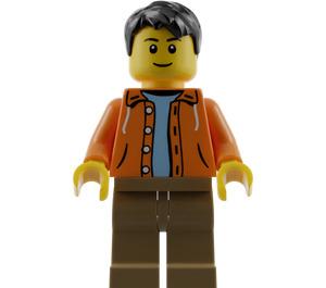 LEGO Male Orange Jacket with Hood over Light Blue Sweater, Dark Tan Legs, Black Short Tousled Hair Minifigure