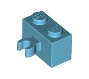 LEGO Medium Azure Brick 1 x 2 with Vertical Clip (Open 'O' clip) (30237 / 95820)