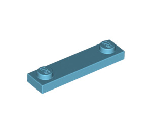 LEGO Medium Azure Plate 1 x 4 with Two Studs without Groove (92593)