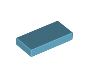 LEGO Medium Azure Tile 1 x 2 with Groove (3069)