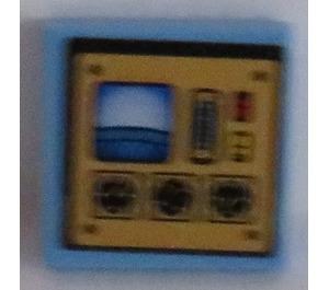 LEGO Medium Blue Tile 2 x 2 with Control Panel Sticker