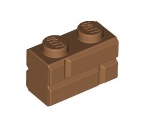 LEGO Medium Dark Flesh Brick 1 x 2 with Embossed Bricks (98283)