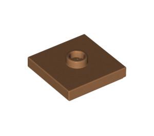 LEGO Medium Dark Flesh Plate 2 x 2 with Groove and 1 Center Stud (87580)