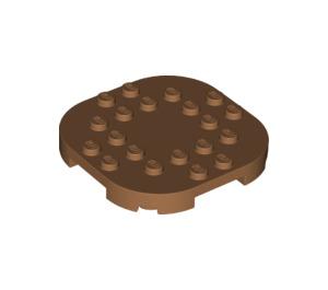 LEGO Medium Dark Flesh Plate 6 x 6 x 2/3 Circle with Reduced Knobs (66789)