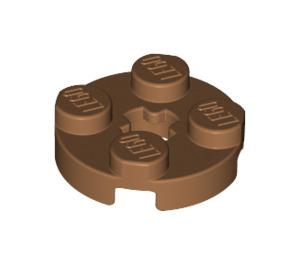 LEGO Medium Dark Flesh Round Plate 2 x 2 with Axle Hole (with '+' Axle Hole) (4032)
