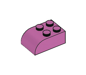 LEGO Medium Dark Pink Brick 2 x 3 with Curved Top (6215)