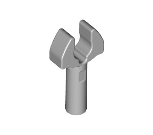 LEGO Medium Stone Gray Bar 1L with Clip (Cut Edges and Hole on One Side) (48729)