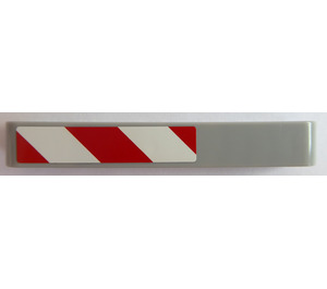 LEGO Medium Stone Gray Beam 7 with Red and White Danger Stripes (Left) Sticker