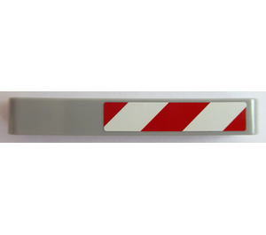LEGO Medium Stone Gray Beam 7 with Red and White Danger Stripes (Right) Sticker