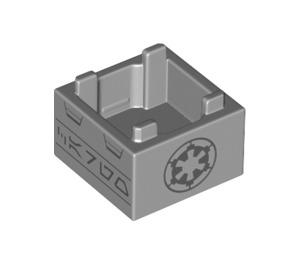 LEGO Medium Stone Gray Box 2 x 2 Bottom with Imperial symbol and black rune symbols  (69870)