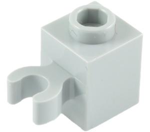 LEGO Medium Stone Gray Brick 1 x 1 with Vertical Clip (Open 'O' Clip, Hollow Stud) (60475 / 65460)