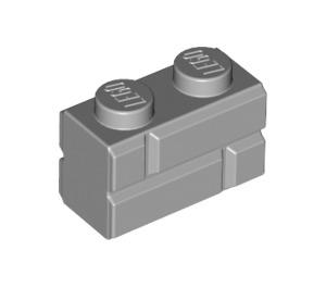 LEGO Medium Stone Gray Brick 1 x 2 with Embossed Bricks (98283)