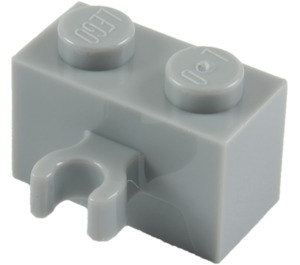 LEGO Medium Stone Gray Brick 1 x 2 with Vertical Clip (thick open 'O' clip) (30237 / 95820)