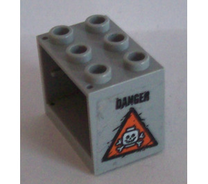LEGO Medium Stone Gray Cupboard 2 x 3 x 2 with Orange Triangle and 'DANGER' (Right) Sticker with Recessed Studs