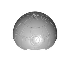LEGO Medium Stone Gray Hemisphere 11 x 11 with Studs on Top and Death Star Indentation (Upper Half) (98114)