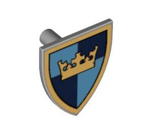 LEGO Medium Stone Gray Minifig Shield Triangular with Gold Crown on Blue Quarters (59890)