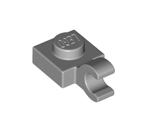 LEGO Medium Stone Gray Plate 1 x 1 with Horizontal Clip (Thick Open 'O' Clip) (52738 / 61252)