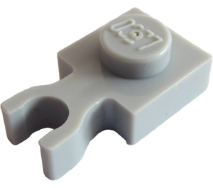 LEGO Medium Stone Gray Plate 1 x 1 with Vertical Clip (Thin 'U' Clip) (4085 / 60897)