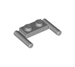 LEGO Medium Stone Gray Plate 1 x 2 with Handles (Low Handles) (3839)