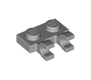 LEGO Medium Stone Gray Plate 1 x 2 with Horizontal Clips (flat fronted clips) (60470)