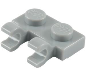 LEGO Medium Stone Gray Plate 1 x 2 with Horizontal Clips (Open 'O' Clips) (60470)