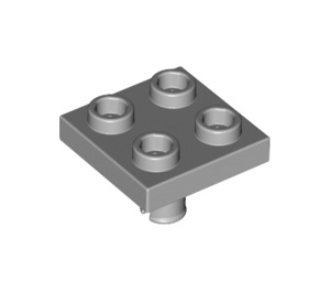 LEGO Medium Stone Gray Plate 2 x 2 with Pin Bottom (Small Holes in Plate) (2476)
