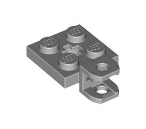 LEGO Medium Stone Gray Plate 2 x 2 with Towball Socket (Flattened) (42478 / 63082)