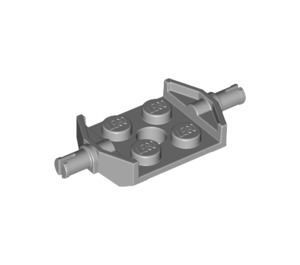 LEGO Medium Stone Gray Plate 2 x 2 with Wide Wheel Attachments (Non-Reinforced Bottom) (6157)