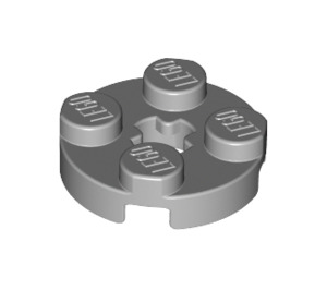 LEGO Medium Stone Gray Round Plate 2 x 2 with Axle Hole (with '+' Axle Hole) (4032)