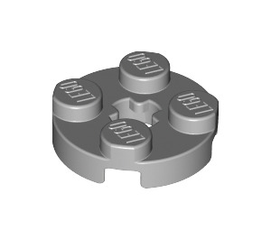 LEGO Medium Stone Gray Round Plate 2 x 2 with Axle Hole (with 'X' Axle Hole) (4032)