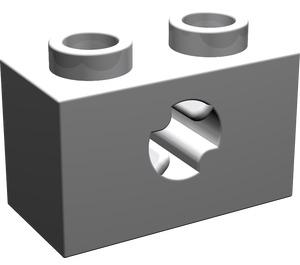 LEGO Medium Stone Gray Technic Brick 1 x 2 with Axle Hole (New Style with 'X' Opening) (32064)