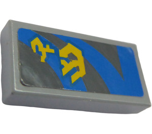 LEGO Medium Stone Gray Tile 1 x 2 with Blue Lines and Yellow Pattern (Left) Sticker with Groove