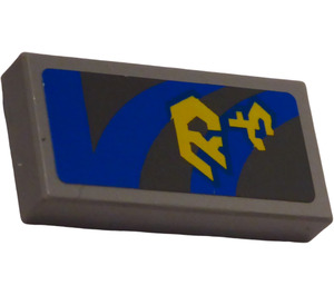 LEGO Medium Stone Gray Tile 1 x 2 with Blue Lines and Yellow Pattern (Right) Sticker with Groove