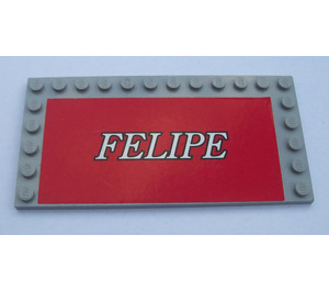 LEGO Medium Stone Gray Tile 6 x 12 with Edge Studs with 'Felipe' Sticker