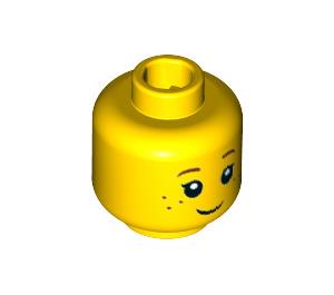 LEGO Minifig, Head Black Eyelashes, Brown Eyebrows, Freckles Pattern - Stud Recessed (Recessed Solid Stud) (20393 / 30973)