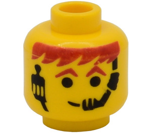 LEGO Minifig Head with Headset Over Red Orange Hair & Eyebrows (Safety Stud) (3626)