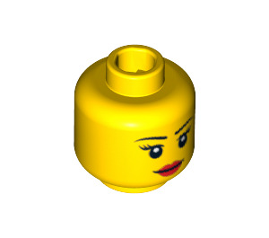 LEGO Minifigure Female Head with Pink Lips (Recessed Solid Stud) (10261 / 14927)
