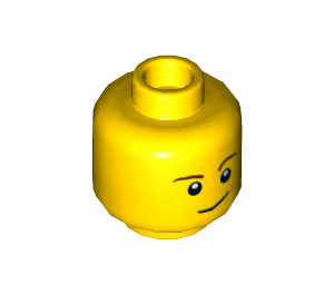 LEGO Minifigure Head with Brown Eyebrows and Lopsided Smile (Recessed Solid Stud) (14807 / 19546)