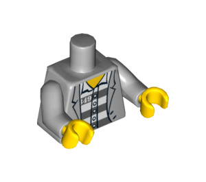 LEGO Minifigure Torso Open Jacket over Grey and White Prison Stripes with Number 49 (76382 / 88585)