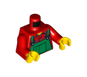 LEGO Minifigure Torso with Green Overalls Bib over Plaid Shirt (76382)
