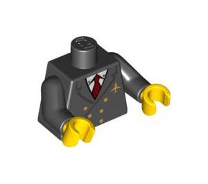 LEGO Minifigure Torso mit Jacket mit Zwei Rows of Buttons, Airline Logo, rot Necktie mit Schwarz Waffen und Gelb Hände (76382)