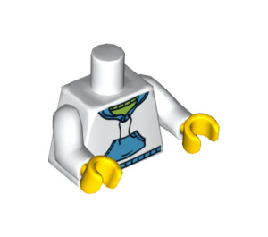 LEGO Minifigure Torso with White and Medium Blue Hoodie (76382 / 88585)